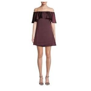 NWT H by Halston Ruffle Dress Burgundy in Syrah 6
